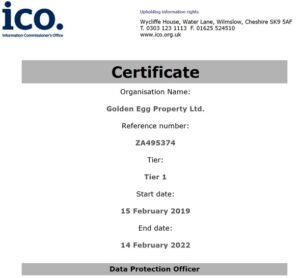 2021/22, golden egg property, ICO, information commissioners office, investment, investor, manage